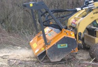 Hydraulic mulchers for skid steer loaders